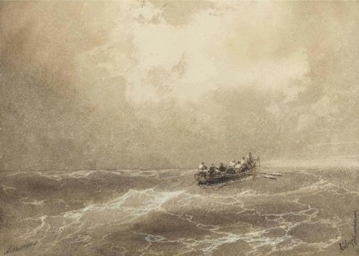 Айвазовский И. К. Спасательная шлюпка в море