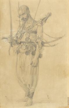 Верещагин В. В. Набросок к картине «Религиозная процессия на празднике Махарем в Шуше»