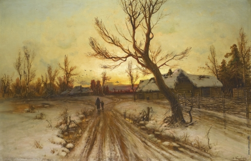 Клевер Ю. Ю. Зимний пейзаж на закате