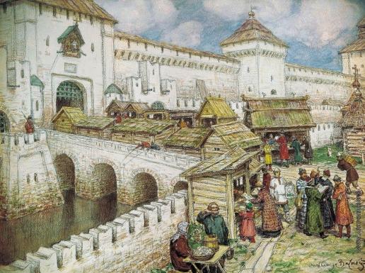 Васнецов А. М. Книжные лавочки на Спасском мосту в XVII веке