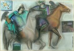 Абашидзе-Шенгелия Л. С. Иллюстрация к книге Шота Руставели «Витязь в тигровой щкуре»