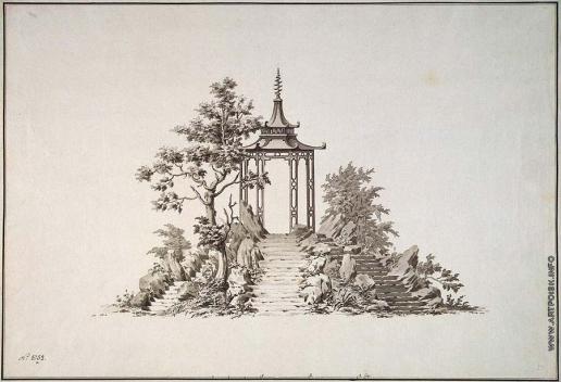 Фельтен Ю. М. Рисунок павильона в китайском стиле на скале с лестницами