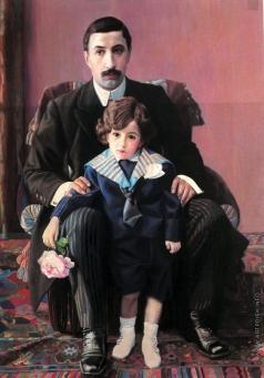 Филонов П. Н. Портрет А.Ф. Азибера с сыном