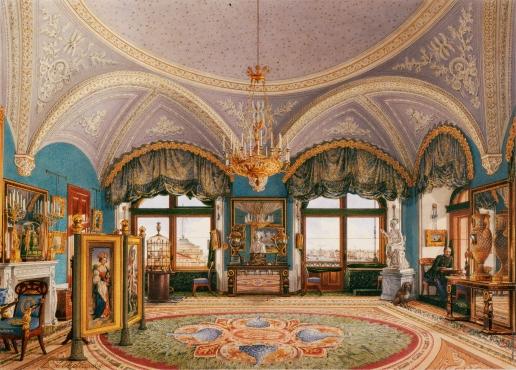 Ухтомский К. А. Виды залов Зимнего дворца. Угловая гостиная императора Николая I