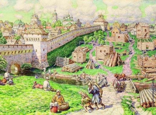 Васнецов А. М. Лубяной торг на Трубе в XVII веке