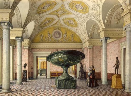 Ухтомский К. А. Виды залов Нового Эрмитажа. Зал Колыванской вазы