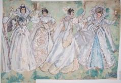 Федоровский Ф. Ф. Опера «Борис Годунов». М.П.Мусоргский. Эскиз женских костюмов «Польские дамы» (5 картина)