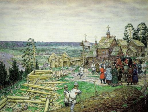 Васнецов А. М. Основание Кремля. Постройка новых стен Кремля Юрием Долгоруким в 1156 году