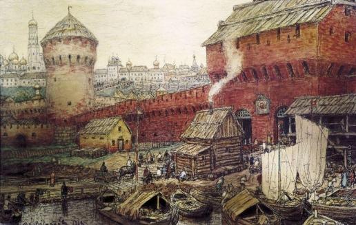 Васнецов А. М. Спасские Водяные ворота Китай-города в XVII веке