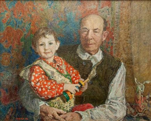 Мазитов А. Н. Портрет ветерана партии и войны Н. Г. Мазитова с внучкой Кариной