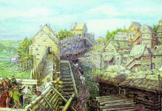 Васнецов А. М. Строительство деревянных стен Кремля. XII век