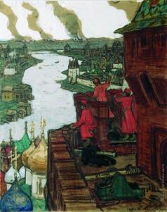 Васнецов А. М. Татары идут. Конец XIV века (Идут! Набег татар на Москву)