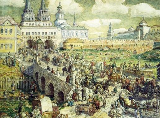 Васнецов А. М. Уличное движение на Воскресенском мосту в XVIII веке