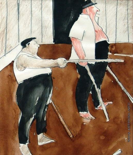 Сойфертис Л. В. Игра в городки. Карикатура из журнала «Крокодил»