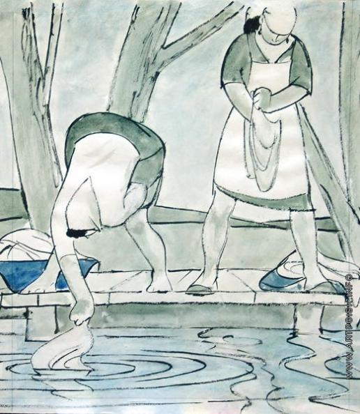 Сойфертис Л. В. Полоскают белье. Карикатура из журнала «Крокодил»
