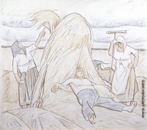 Сойфертис Л. В. Уборка сена. Журнальный рисунок.