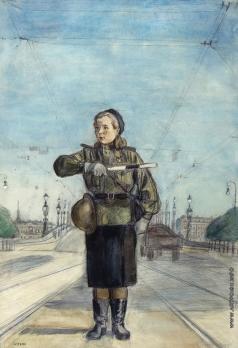 Пахомов А. Ф. Регулировщица. Послевоенный Ленинград