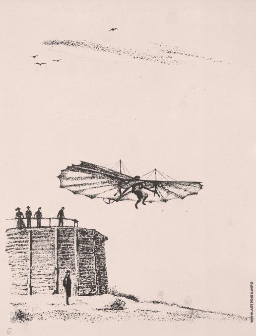 Тамби В. А. Планер О. Лилиенталя. Иллюстрация к книге «Как человек научился летать»
