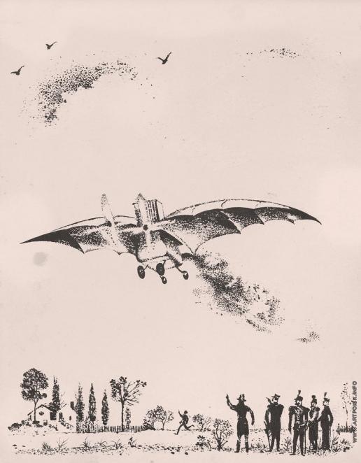 Тамби В. А. Моноплан Эол. Иллюстрация к книге  «Как человек научился летать»