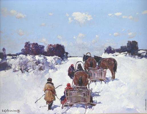 Колесников С. Ф. Сани на снегу