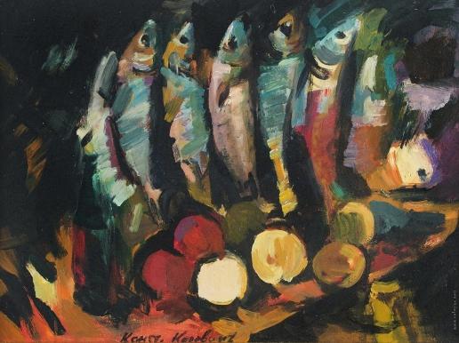Коровин К. А. Натюрморт с рыбой и фруктами