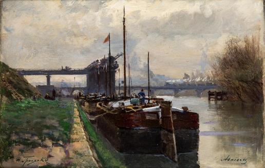 Гриценко Н. Н. Причал в городе Аньер-сюр-Сене. Франция