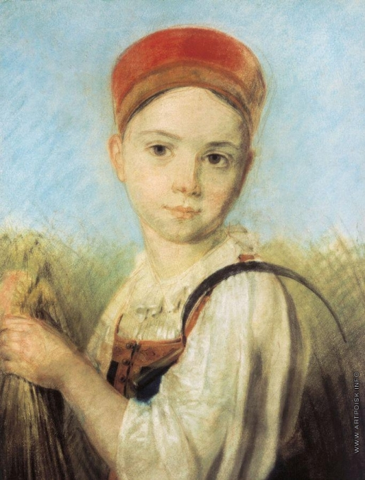 Венецианов А. Г. Крестьянская девушка с серпом во ржи
