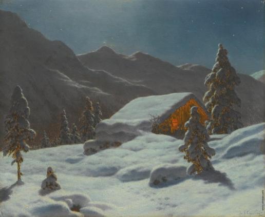 Шультце И. Ф. Зимний пейзаж в лунном свете