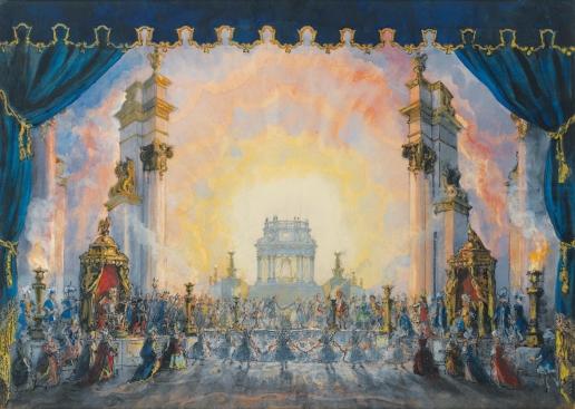 Бенуа А. Н. Эскиз декорации для свадьбы Амура и Психеи