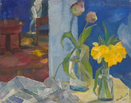 Анисфельд Б. И. Цветы в синем интерьере
