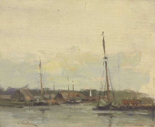 Левитан И. И. Лодки на Волге