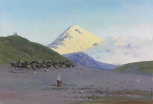 Зоммер Р. К. Вид на гору Казбек и Гергетискую Троицкую церковь