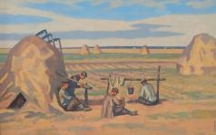 Иванов В. И. Мужчины отдыхают во время сбора урожая