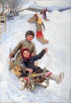 Сычков Ф. В. Катание с горы зимой