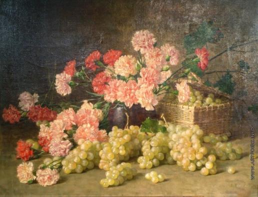 Гирв А. А. Натюрморт с гвоздиками и виноградом