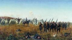 Бунин Н. Н. Лейб-гвардии Гусарский полк приветствует лейб-гвардии Егерский полк после боя под Темичем 12 октября 1877 года