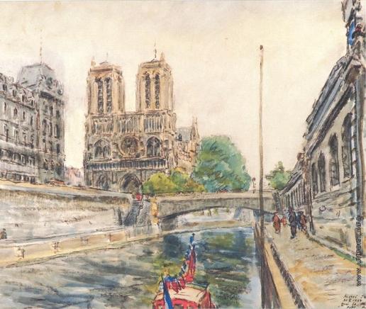 Яковлев М. Н. Парижский собор и маленький мост