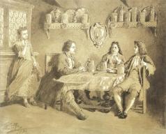 Клодт М. П. Петр I инкогнито в гостях у голландского шкипера (Жена догадывается)