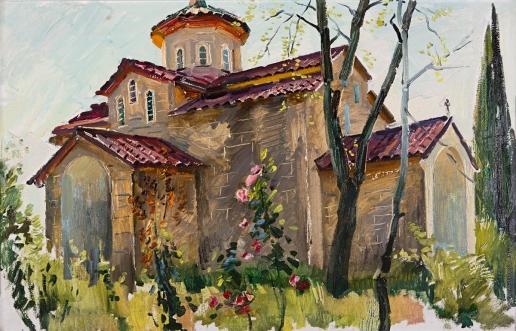 Данциг М. В. Храм в деревне Лыхны. Абхазия