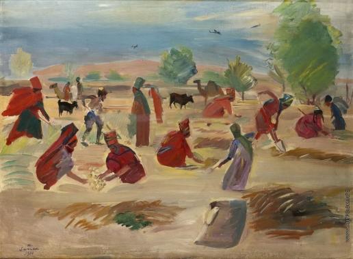 Сарьян М. С. Ашхабад. Сбор картофеля в колхозе