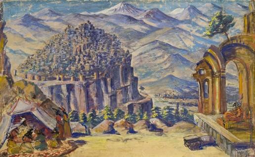 Сарьян М. С. Эскиз декорации I-го акт оперы А.Спендиарова «Алмаст»