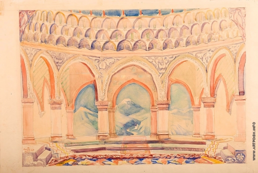 Сарьян М. С. Эскиз декорации III-го акт оперы А. Спендиарова «Алмаст»