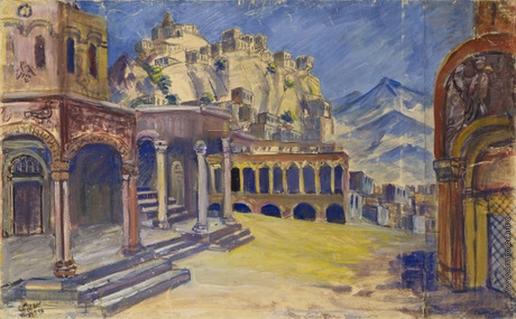 Сарьян М. С. Эскиз декорации IV-го акт оперы А.Спендиарова «Алмаст»