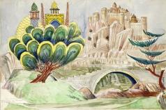 Сарьян М. С. Эскиз декорации I-го акта оперы А.Спендиарова «Алмаст» для театра в Одессе