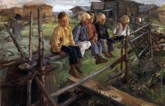 Прянишников И. М. Воробьи (ребята на изгороди)