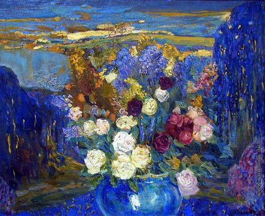 Школьник И. С. Nature-Morte. Натюрморт с розами в голубой вазе