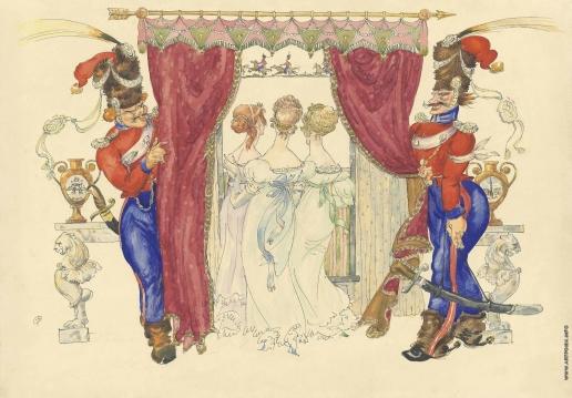 Добужинский М. В. Казаки Платова в Париже: три девицы