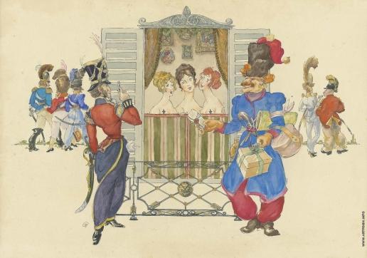 Добужинский М. В. Казаки Платова в Париже