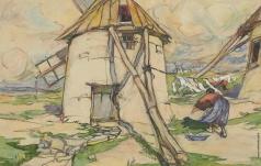 Самокиш Н. С. Крым. Пейзаж с ветряной мельницей возле Евпатории