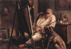 Калганов И. А. Автопортрет с собакой